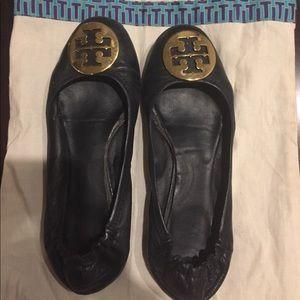 Authentic Tory Burch Reva Flats-Size 8- Black/gold